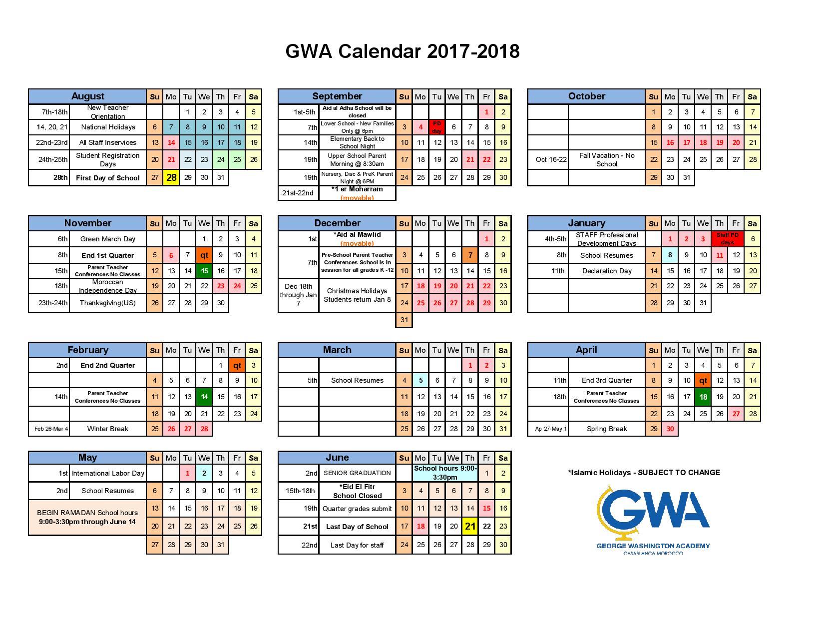 quarter calendar 2017