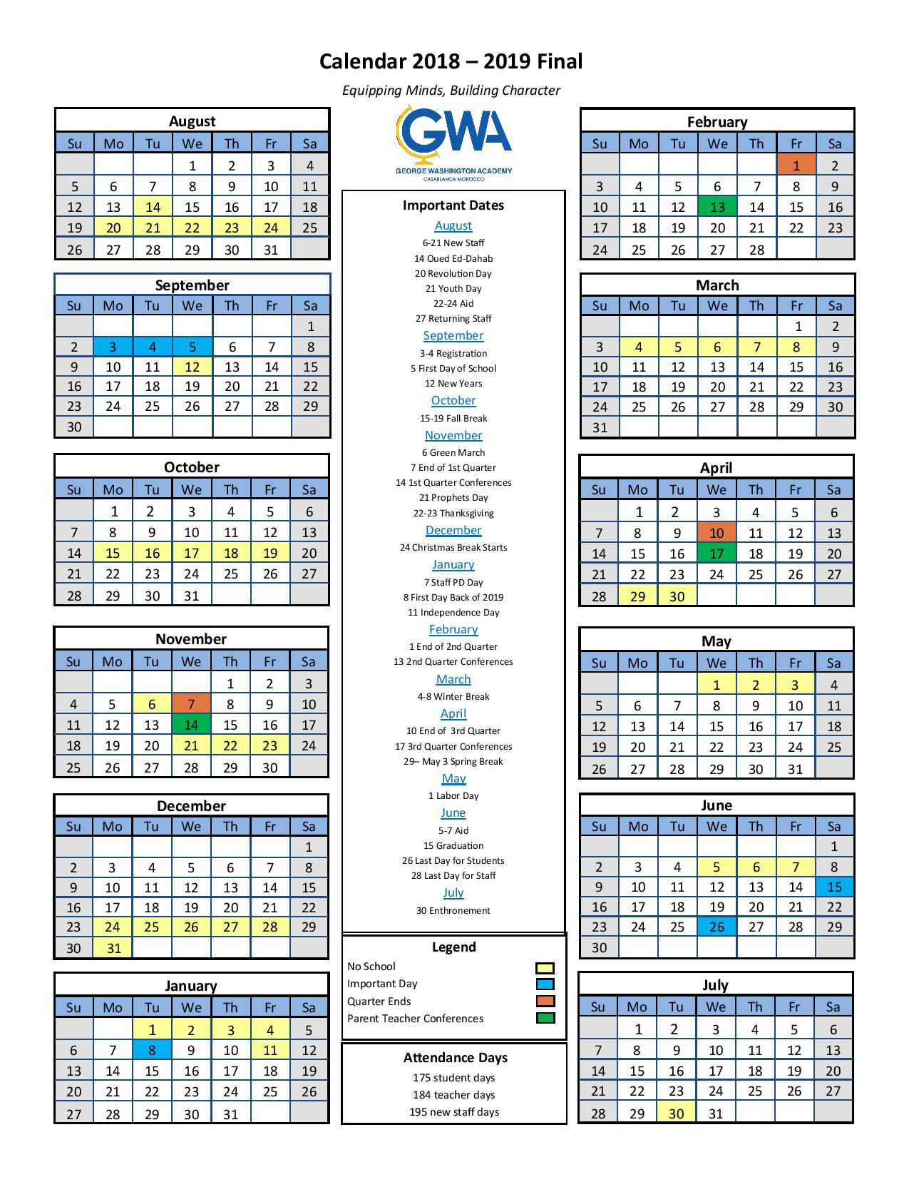 Academic Calendar George Washington Academy Click The Image For A Pdf Version Here